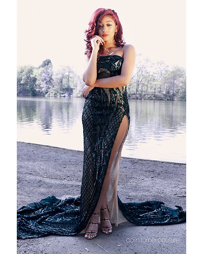 """BELLISSIMO"" COUTURE HIGH SLIT STRAPLESS SEQUIN GOWN"