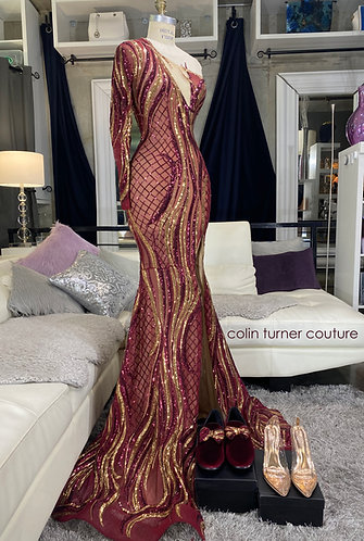 """JADE V2"" GOLD / BURGUNDY SEQUIN,  ONE SHOULDER, SLIT PEPLUM GOWN"
