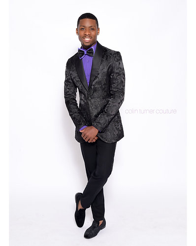 CTC - COUTURE BROCADE TUX WITH CUSTOM TIE AND YOUR CHOICE OF SHIRT COLOR