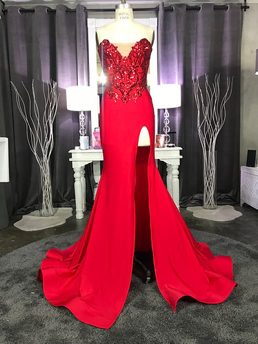 DESTINY COUTURE SEQUIN BODICE HIGH SLIT GOWN