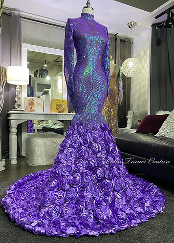 """""""GIANNA"""" EXTENDED ROSETTE COUTURE SEQUIN AND  PEPLUM GOWN PEPL"""
