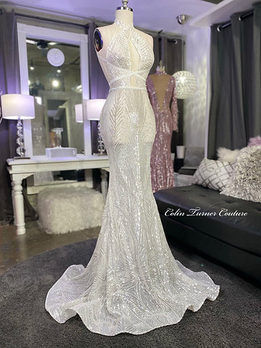 """""""MIYA"""" COUTURE OPEN FRONT,  STRAP DETAILED, CROSS BACK SEQUIN PEPLUM GOWN"""