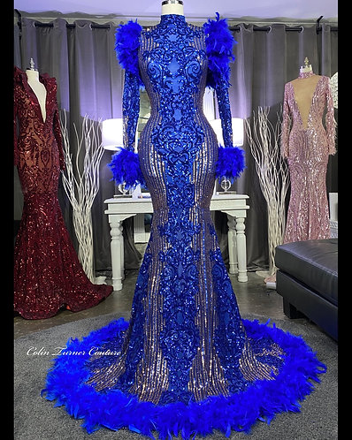 """Cop """"MAKAILA V3"""" COUTURE FEATHER, SEQUIN PEPLUM GOWN"""