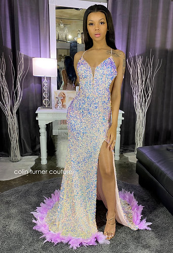 """RACHAEL"" COUTURE CURVED SEQUIN / TANK STRAP / SLIT FEATHER PEPLUM GOWN"