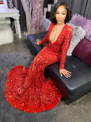 """""""MIA V1"""" COUTURE DEEP V SEQUIN PEPLUM GOWN"""
