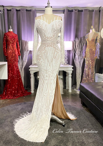"""""""ANGEL"""" COUTURE HIGH SLIT MESH SEQUIN AND OSTRICH FEATHER WEDDING GOWN"""