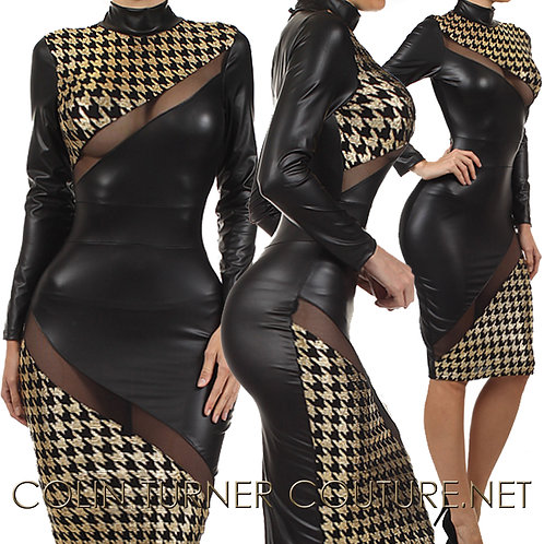 Faux Leather, Herringbone gold print, mesh detail