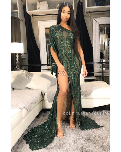 """STELLA"" COUTURE HIGH SLIT / DRAPED ONE ARM SLITTED PEPLUM SEQUIN GOWN"