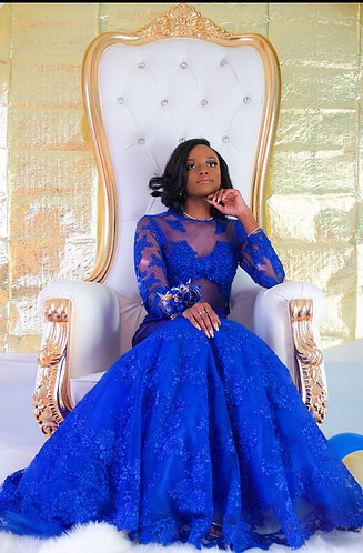 "COUTURE CUSTOM BLUE ""JIMA"" GOWN"