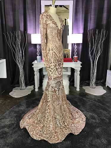 RIMANA V4 COUTURE SEQUIN - DEEP V FRONT AND BACK - GOWN