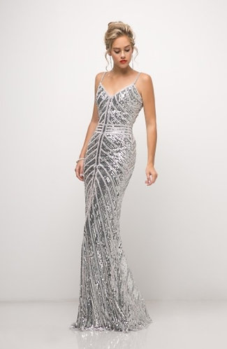 CTC - COUTURE SILVER STRIP GOWN