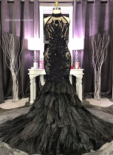 FAHARI COUTURE HEAVY BEADED OSTRICH FEATHER PEPLUM GOWN