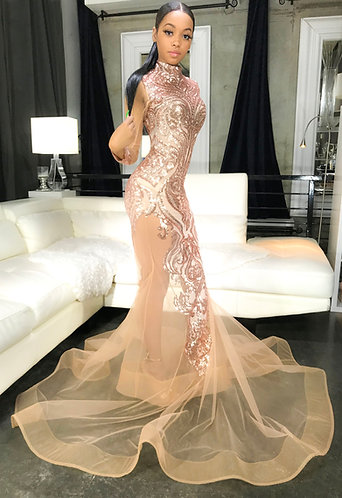 """""""CHANEL"""" COUTURE SEQUIN / TULLE PEPLUM  GOWN"""