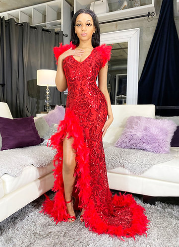 """TAYLOR """"V2"""" COUTURE V-FRONT / FEATHER ACCENTED GOWN"""