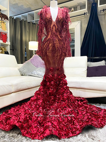 """""""CALANTHIA"""" COUTURE  BEADED, OSTRICH FEATHERS, LARGE ROSETTE GOWN"""