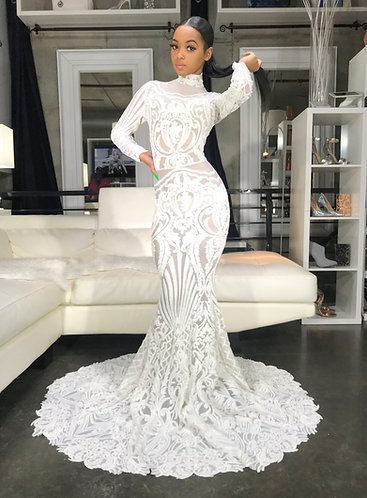 """""""SNOW WHITE SAVAGE"""" COUTURE SEQUIN GOWN"""