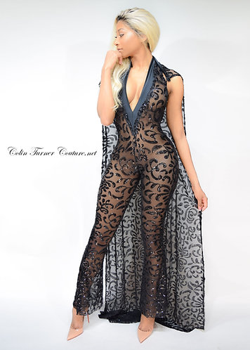 CTC - COUTURE HANDMADE SEQUIN CATSUIT WITH CAPE