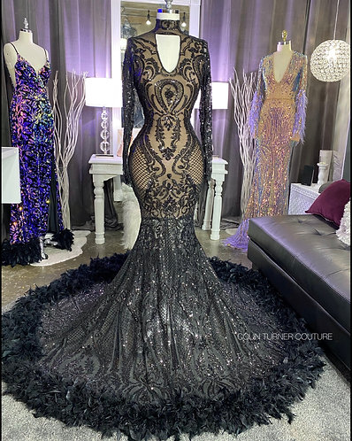 """""""TIFFANI"""" EXTENDED PEPLUM COUTURE SEQUIN AND FEATHER PEPLUM GOWN PEPL"""