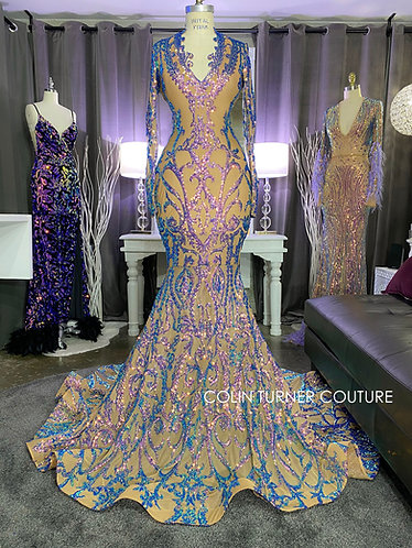 """""""ARAMIS"""" COUTURE SEQUIN PEPLUM GOWN WITH CUSTOM SEQUINS SCALLOPED V-NECK"""