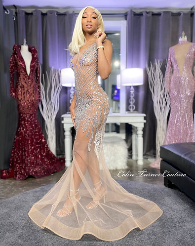 """""""JOURDA"""" COUTURE CRYSTAL STONE MESH ILLUSION GOWN - SKIN TONE LINER INCLUDED"""