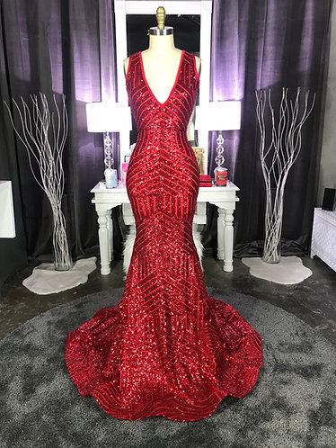 """SHYLA"" COUTURE LOW V / EXTENDED TRAIN SEQUIN GOWN"