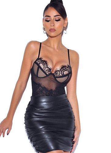 CTC COUTURE ELEGANT LACE AND FAUX LEATHER SET