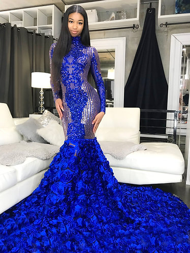 """""""MAKAILA"""" COUTURE GOLD BLUE / SUPER EXTENDED ROSETTE GOWN"""
