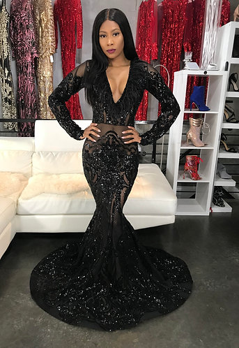 "LINDA B. ""MARIA"" COUTURE SEQUIN GOWN"