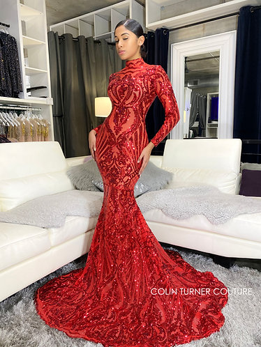 """""""SAVAGE"""" COUTURE SEQUIN PEPLUM GOWN"""
