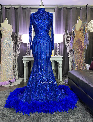 """""""TEMPEST"""" COUTURE SEQUIN PEPLUM GOWN WITH FEATHER TRAIN"""