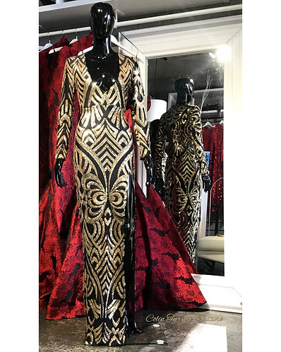 """COUTURE """"MONTINA"""" GOLD AND BLACK SEQUIN GOWN"""
