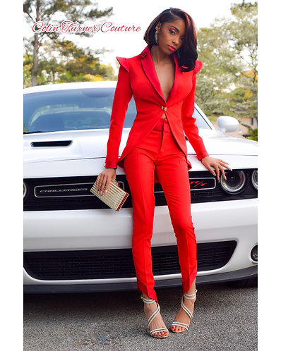 COUTURE RED TUX SUIT