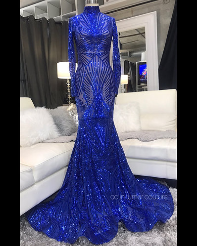 """ADONNA"" COUTURE SEQUIN EXTENDED TRAIN GOWN"