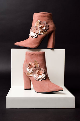 CTC - MAUVE FLOWER EMBELLISHED BOOTIE