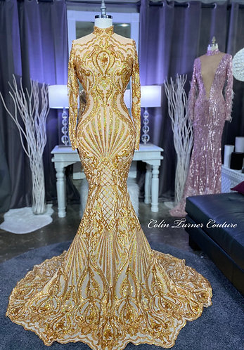 """""""SAVAGE GOLDIE"""" COUTURE SEQUIN PEPLUM GOWN"""