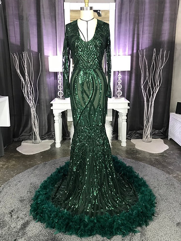 SERBIANNA LOW V COUTURE PEPLUM / 3 TIER FEATHER SEQUIN GOWN