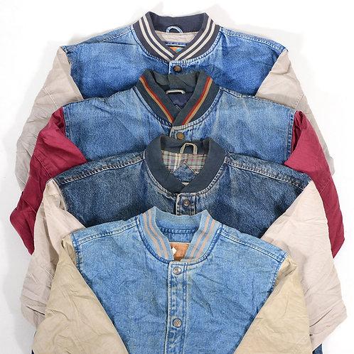 Vintage Men's Baseball Denim Jacket Mix