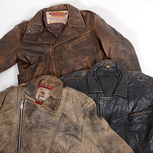 5 x Vintage Heavyweight Leather Biker Jackets