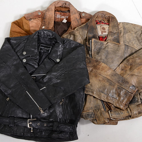 10 x Vintage Women's Heavyweight Leather Biker Jackets
