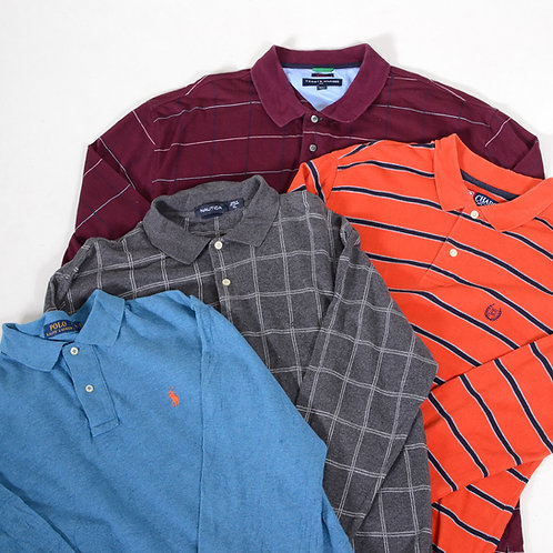 10 x Vintage Men's Branded Long Sleeve Polo Shirts Mix
