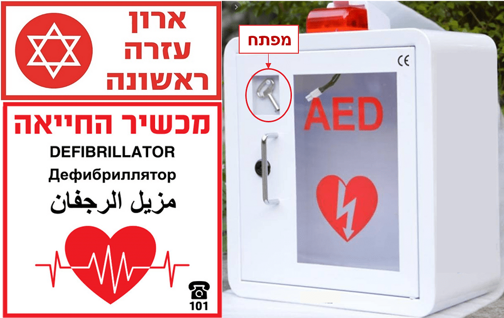 שילוט לארון עזרה ראשונה ולמכשיר החייאה, למפתח ארונית