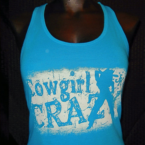 Cowgirl Crazy Turquoise Racerback Tank