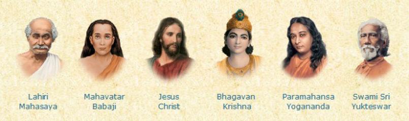 Foto com os Gurus da SRF, na sequência usada no altar