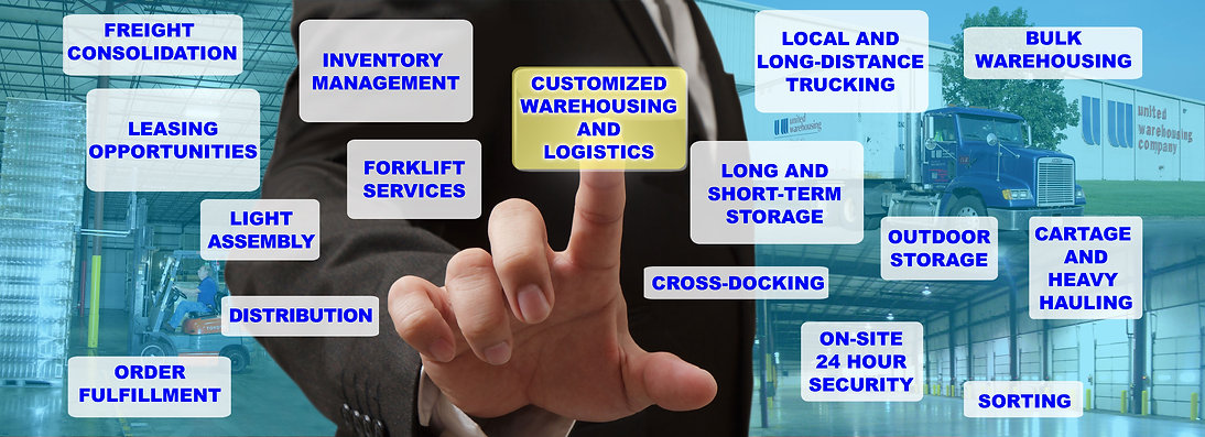 Customized Warehousing and Logistics, Freight Consolidation, Leasing Opportunities, Light Assembly, Distribution, Order Fulfillment, Distribution, Forklift Services, Inventory Management, Local and Long-Distance Trucking, Long and Short-Term Storage, Cross-Docking, On-Site 24-Hour Security, Outdoor Storage, Bulk Warehousing, Cartage and Heavy Hauling, Sorting