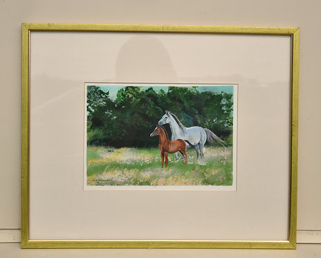 Arabian Mare and Foal original painting acrylic on board by Ann Kilminster