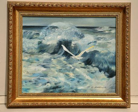 Seascape original oil painting on board by Ann Kilminster