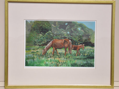 Original Mare and Foal painting acrylic on board by Ann Kilminster