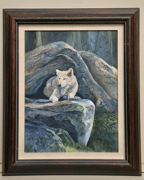 White Wolf original painting acrylic on board by Ann Kilminster
