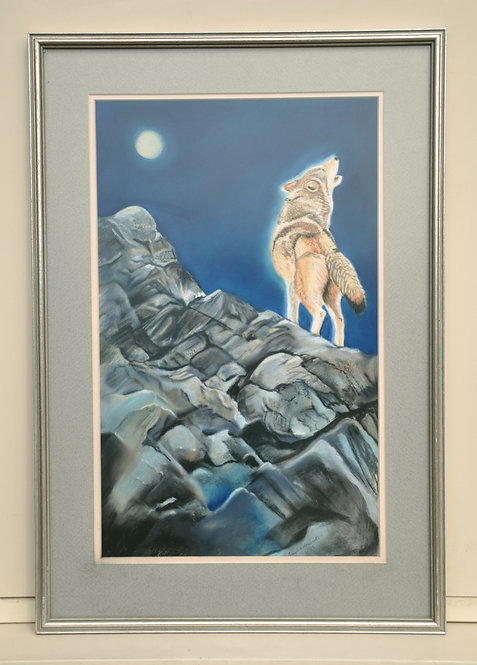 Original pastel painting of a grey wolf howling for the moon by Ann Kilminster