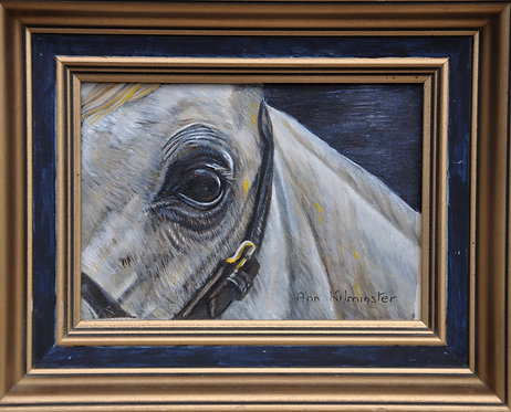 grey horse painting Oil on board by Ann Kilminster